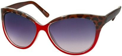 Angle of Sydney #37 in Red and Brown Leopard with Smoke Lenses, Women's Cat Eye Sunglasses