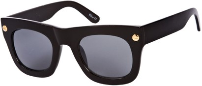 Angle of SW Retro Style #3082 in Solid Black Frame, Women's and Men's