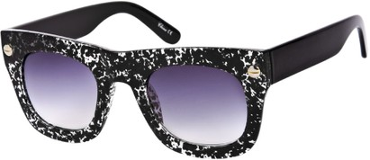 Angle of SW Lace Oversized Retro Style #1123 in Black/Clear Speckled Lace Frame, Women's and Men's