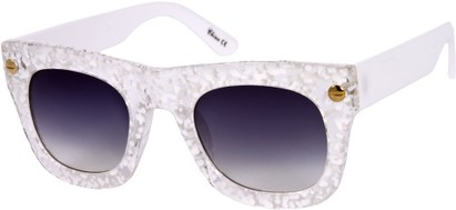 Angle of SW Retro Style #3082 in White/Clear Speckled Frame, Women's and Men's