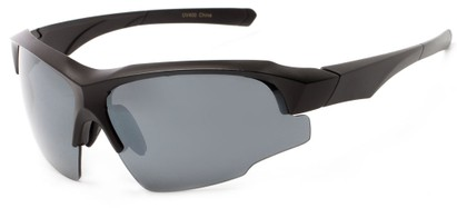 Angle of Bighorn #2759 in Matte Black Frame with Smoke Lenses, Men's Sport & Wrap-Around Sunglasses
