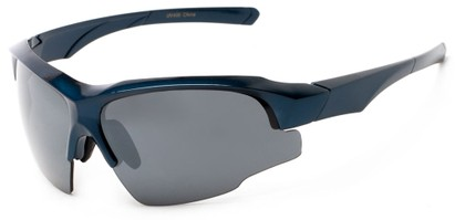 Angle of Bighorn #2759 in Glossy Blue Frame with Smoke Lenses, Men's Sport & Wrap-Around Sunglasses