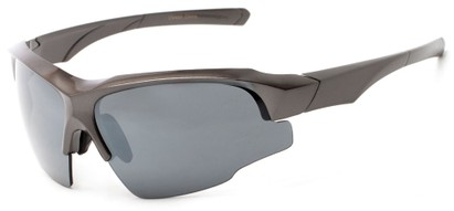 Angle of Bighorn #2759 in Glossy Grey Frame with Smoke Lenses, Men's Sport & Wrap-Around Sunglasses