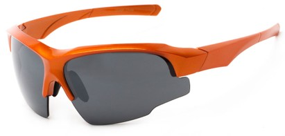 Angle of Bighorn #2759 in Glossy Orange Frame with Smoke Lenses, Men's Sport & Wrap-Around Sunglasses
