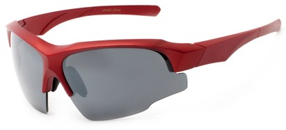 Angle of Bighorn #2759 in Matte Red Frame with Smoke Lenses, Men's Sport & Wrap-Around Sunglasses