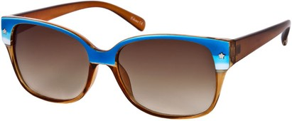 Angle of SW Two-Tone Retro Style #122 in Blue Stripe/Brown Frame, Women's and Men's