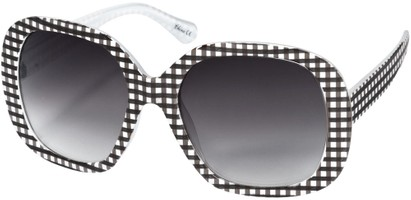 Angle of SW Oversized Style #1626 in Black/White Gingham Frame, Women's and Men's