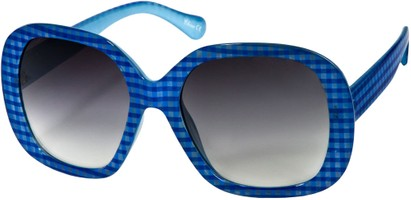 Angle of SW Oversized Style #1626 in Blue Plaid Frame, Women's and Men's