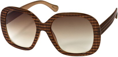 Angle of SW Oversized Style #1626 in Brown/Gold Plaid Frame, Women's and Men's
