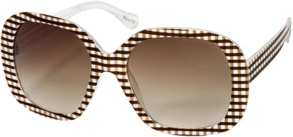 Angle of SW Oversized Style #1626 in Brown/White Gingham Frame, Women's and Men's