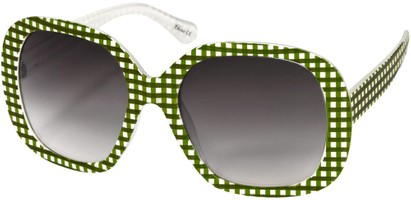 Angle of SW Oversized Style #1626 in Green/White Gingham Frame, Women's and Men's