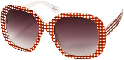 Angle of SW Oversized Style #1626 in Red/White Gingham Frame, Women's and Men's
