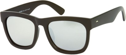 Angle of SW Oversized Mirrored Retro Style #9804 in Matte Black Frame, Women's and Men's