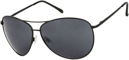 Angle of SW Mirrored Aviator Style #1905 in Black Frame with Dark Smoke Lenses, Women's and Men's
