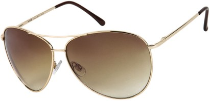 Angle of SW Mirrored Aviator Style #1905 in Gold Frame with Gold Lenses, Women's and Men's
