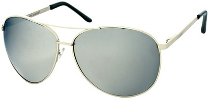Angle of SW Mirrored Aviator Style #1905 in Silver Frame with Silver Mirrored Lenses, Women's and Men's