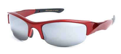 Angle of SW Sport Style #278 in Red Frame with Mirrored Lenses, Women's and Men's