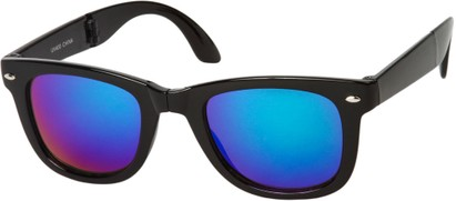 Angle of Spitfire #3805 in Black Frame with Blue/Green Lenses, Women's and Men's Retro Square Sunglasses