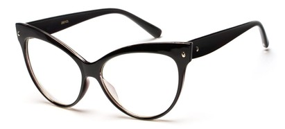 Angle of Valley #2290 in Black Frame with Clear Lenses, Women's Cat Eye Sunglasses