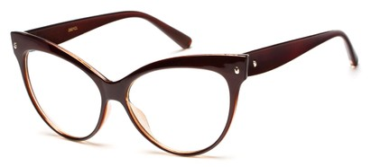 Angle of Valley #2290 in Brown Frame with Clear Lenses, Women's Cat Eye Sunglasses