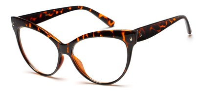 Angle of Valley #2290 in Tortoise Frame with Clear Lenses, Women's Cat Eye Sunglasses