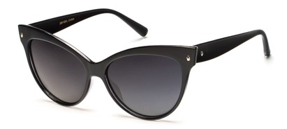 Angle of Andorra #9890 in Black Frame with Smoke Lenses, Women's Cat Eye Sunglasses