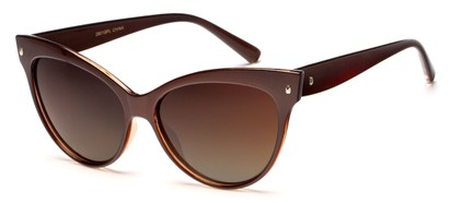 Angle of Andorra #9890 in Brown Frame with Amber Lenses, Women's Cat Eye Sunglasses