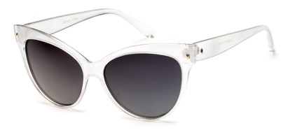 Angle of Andorra #9890 in Silver Frame with Smoke Lenses, Women's Cat Eye Sunglasses