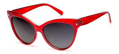 Angle of Andorra #9890 in Red Frame with Smoke Lenses, Women's Cat Eye Sunglasses