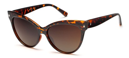 Angle of Andorra #9890 in Tortoise Frame with Amber Lenses, Women's Cat Eye Sunglasses