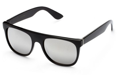 Angle of SW Retro Mirrored Style #2819 in Black Frame with Silver Lenses, Women's and Men's Retro Square Sunglasses
