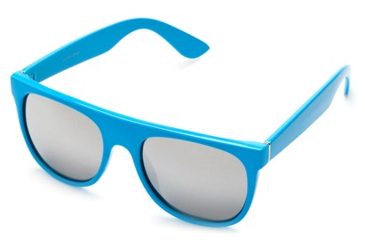 Angle of SW Retro Mirrored Style #2819 in Blue Frame with Silver Lenses, Women's and Men's Retro Square Sunglasses