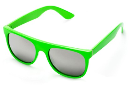 Angle of SW Retro Mirrored Style #2819 in Green Frame with Silver Lenses, Women's and Men's Retro Square Sunglasses