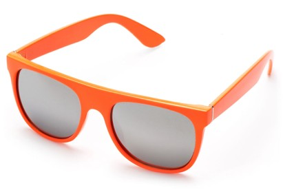Angle of SW Retro Mirrored Style #2819 in Orange Frame with Silver Lenses, Women's and Men's Retro Square Sunglasses
