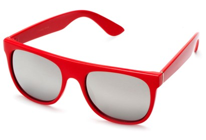 Angle of SW Retro Mirrored Style #2819 in Red Frame with Silver Lenses, Women's and Men's Retro Square Sunglasses