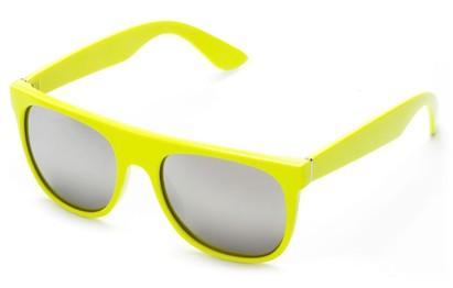 Angle of SW Retro Mirrored Style #2819 in Yellow Frame with Silver Lenses, Women's and Men's Retro Square Sunglasses
