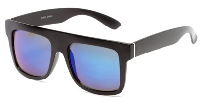 Angle of SW Mirrored Style #2822 in Black Frame with Blue Mirrored Lenses, Women's and Men's