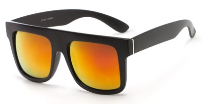 Angle of SW Mirrored Style #2822 in Black Frame with Red/Orange Mirrored Lenses, Women's and Men's