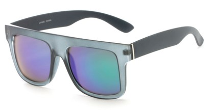Angle of SW Mirrored Style #2822 in Grey Frame with Blue/Green Mirrored Lenses, Women's and Men's