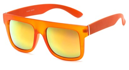 Angle of SW Mirrored Style #2822 in Orange Frame with Yellow Mirrored Lenses, Women's and Men's