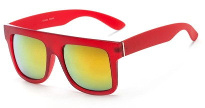 Angle of SW Mirrored Style #2822 in Red Frame with Yellow Mirrored Lenses, Women's and Men's