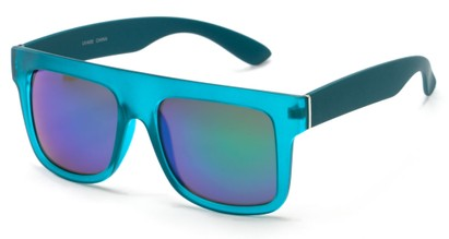 Angle of SW Mirrored Style #2822 in Blue Frame with Blue/Green Mirrored Lenses, Women's and Men's