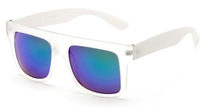 Angle of SW Mirrored Style #2822 in Clear/White Frame with Blue/Green Mirrored Lenses, Women's and Men's