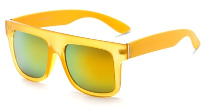 Angle of SW Mirrored Style #2822 in Yellow Frame with Yellow Mirrored Lenses, Women's and Men's