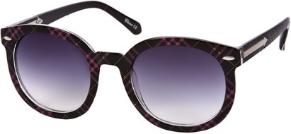 Angle of SW Oversized Retro Style #111 in Black/Pink Plaid Frame, Women's and Men's