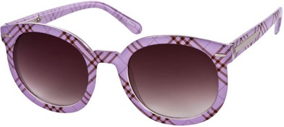 Angle of SW Oversized Retro Style #111 in Light Purple Plaid Frame, Women's and Men's