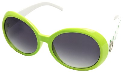 Angle of SW Polka Dot Style #742 in Lime Green and White Frame, Women's and Men's