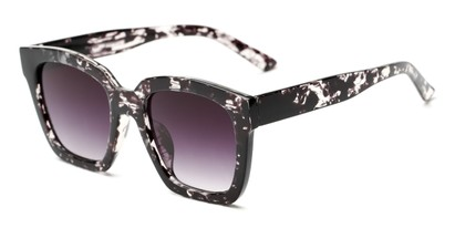 Angle of Foley #2884 in Black Tortoise Frame with Smoke Lenses, Women's Square Sunglasses
