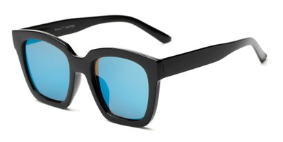 Angle of Foley #2884 in Black Frame with Blue Mirrored Lenses, Women's Square Sunglasses