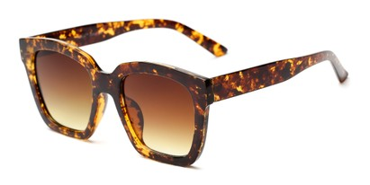 Angle of Foley #2884 in Tortoise Frame with Amber Lenses, Women's Square Sunglasses